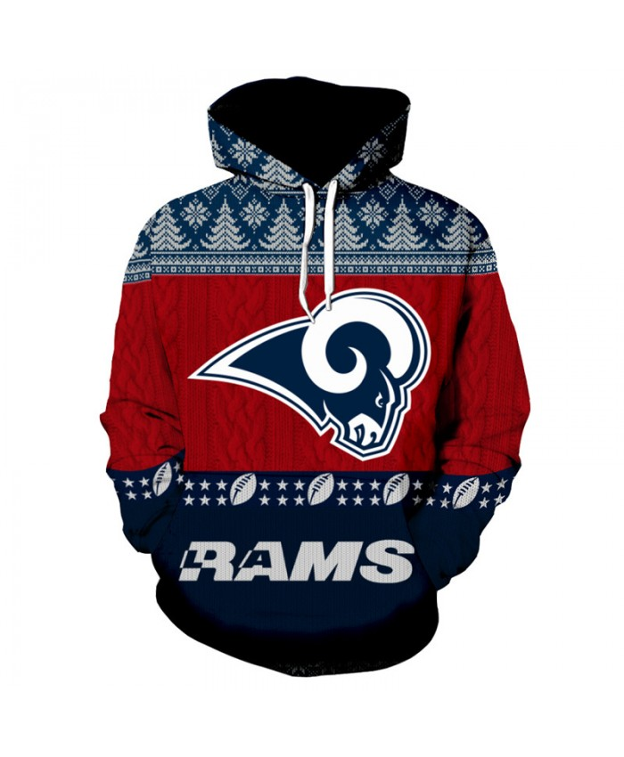 NFL American Football Casual Hoodie Christmas Sweatshirt fashion Pullover Los Angeles Rams