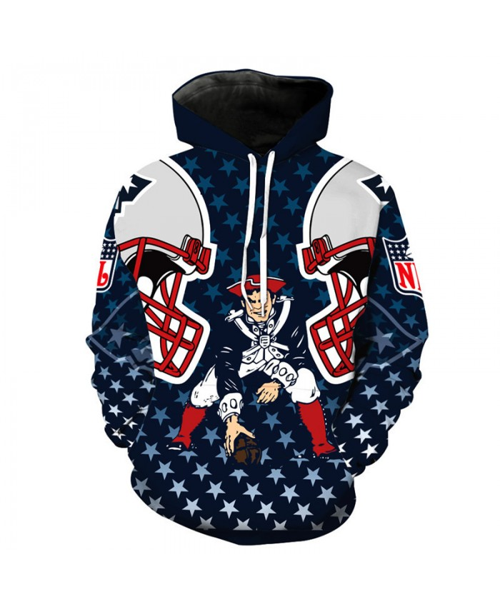 NFL American football Fashion 3D Print hooded sweatshirt cool pullover New England Patriots