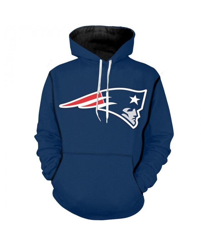 NFL England Patriots Hoodie Blue 3D Hoodie With Zipper Sweatshirt Jacket Pullover
