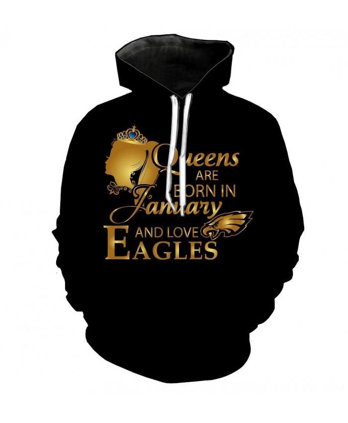 NFL Football Philadelphia Eagles 3D Hoodie With Zipper Sweatshirt Jacket Pullover