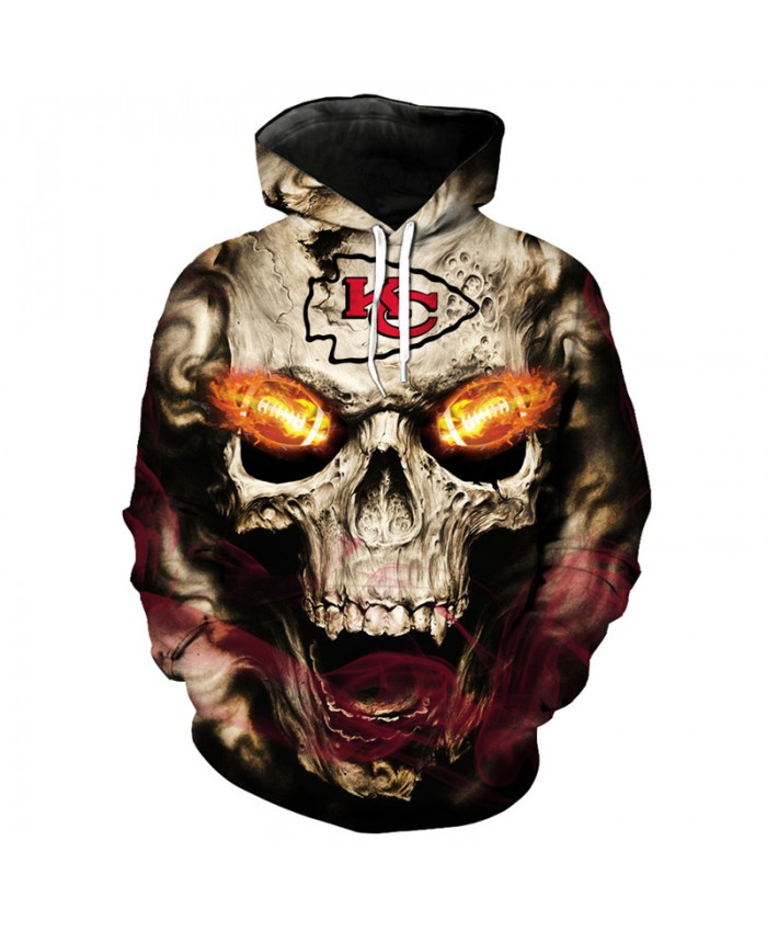 NFL roaring skull pullover fashion Kansas City Chiefs hooded sweatshirt hip hop streetwear