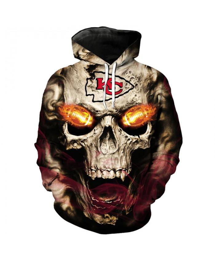 NFL roaring skull pullover fashion Kansas City Chiefs hooded sweatshirt hip hop streetwear