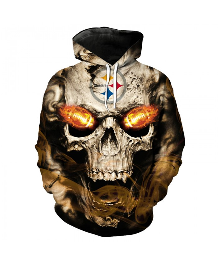 NFL roaring skull pullover fashion Pittsburgh Steelers hooded sweatshirt hip hop streetwear