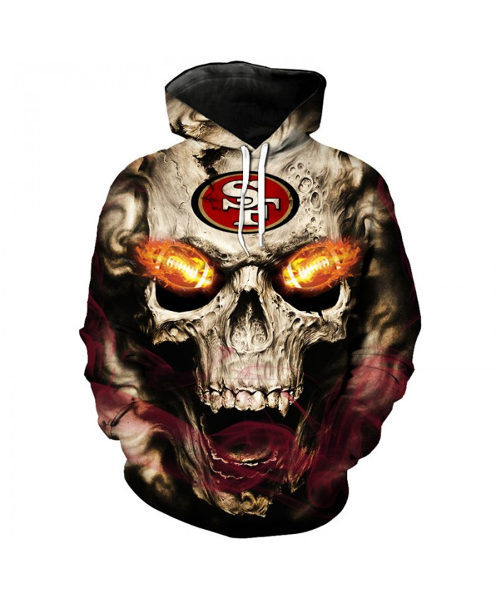 NFL roaring skull pullover fashion San Francisco 49ers hooded sweatshirt hip hop streetwear