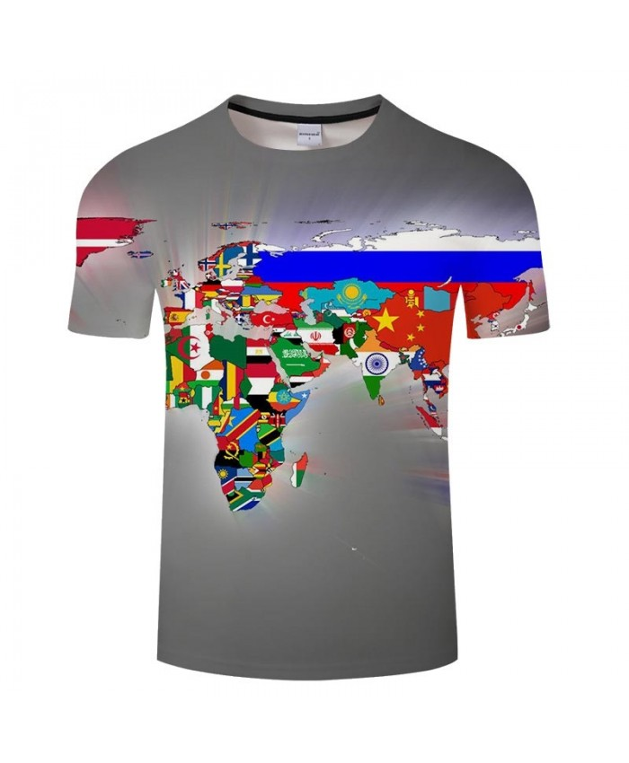 National Flag Map 3D Print Men tshirt Mens Shirt Casual Summer Short Sleeve Men T Shirts Fashion Men Round Neck