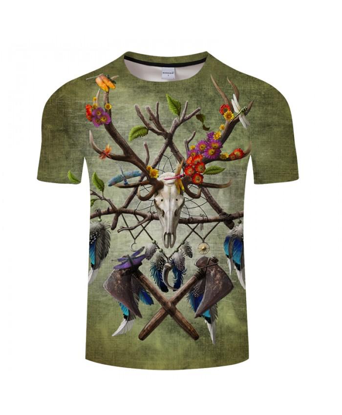 Native American Skull2 White More Detail Green By SunimaArt 3D Print T shirt Men Summer Casual ShortSleeve Tops&Tee Tshirts EU