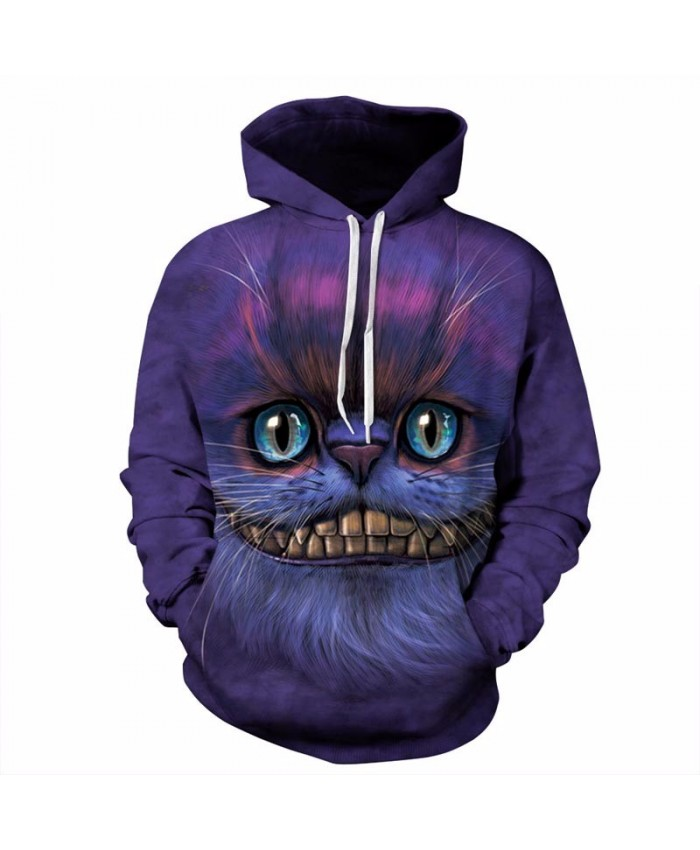 New Autumn Winter Thin Stylish 3d Sweatshirts Men/Women Hoodies With Hat Print Cheshire Cat Hooded Hoody Tops