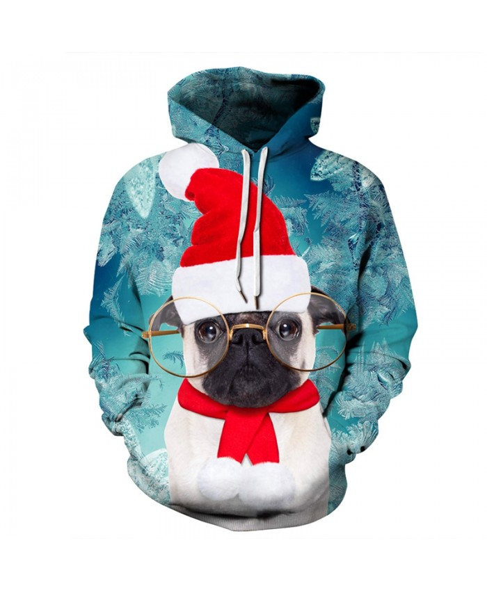 New Cute Dog Christmas Print 3D Hoodie Sweatshirt Men Women Fashion Hip Hop Pullover Hoody Tops 2019 Autumn Sportswear Tracksuit
