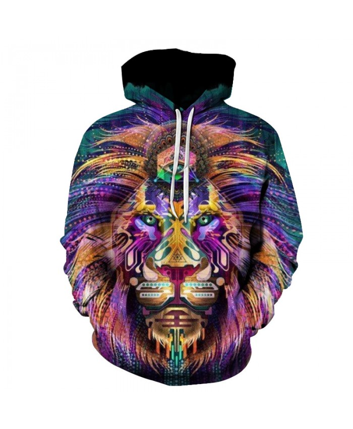 New Fashoin Colorful Lion Printed Hoodies Men Women Sweatshirts 6xl Plus size Extend Pullover Autumn Quality Fashion