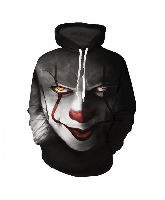 New Horror Movie IT Clown 3D Printed Hooded Sweatshirts Men Women Halloween Casual Pullover Stranger Things Personality Hoodies