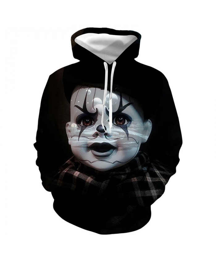 New Horror Movie IT Clown 3D Printed Hooded Sweatshirts Men Women Halloween Casual Pullover Stranger Things Personality Hoodies A