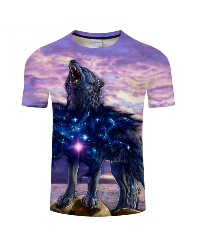 New galaxy 3D Wolf Print T shirt Men Summer Women t shirt Casual tshirts Streetwear Tops&Tees Drop Ship 2019