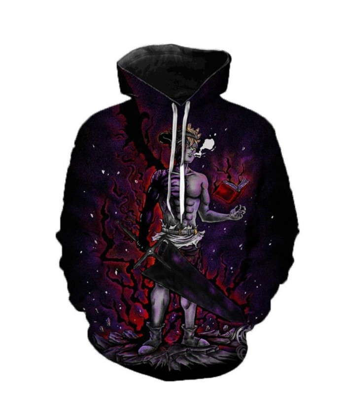 Newest Anime Black Clover 3D Hoodies Teens Fashion Cartoon Hooded Sweatshirts Spring Casual Outerwear Plus Size Coat C