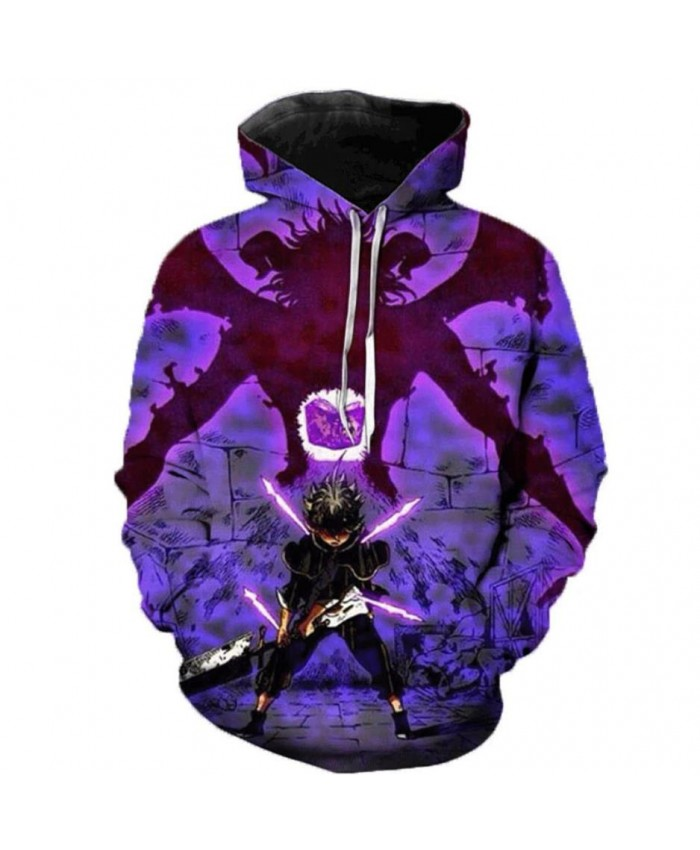 Newest Anime Black Clover 3D Hoodies Teens Fashion Cartoon Hooded Sweatshirts Spring Casual Outerwear Plus Size Coat F