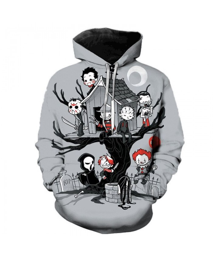 Newest Horror Film 3D Hoodies Unisex Spring Outerwear Men/Women Sweatshirts Plus Size Personality Fashion Polluver
