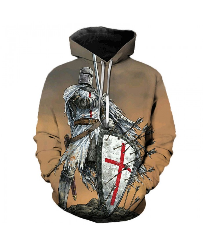 Newest Knights Templar 3D Printed Hoodies Men Women Fashion Casual Hooded Sweatshirts Streetwear Oversized Outerwear Pullovers C