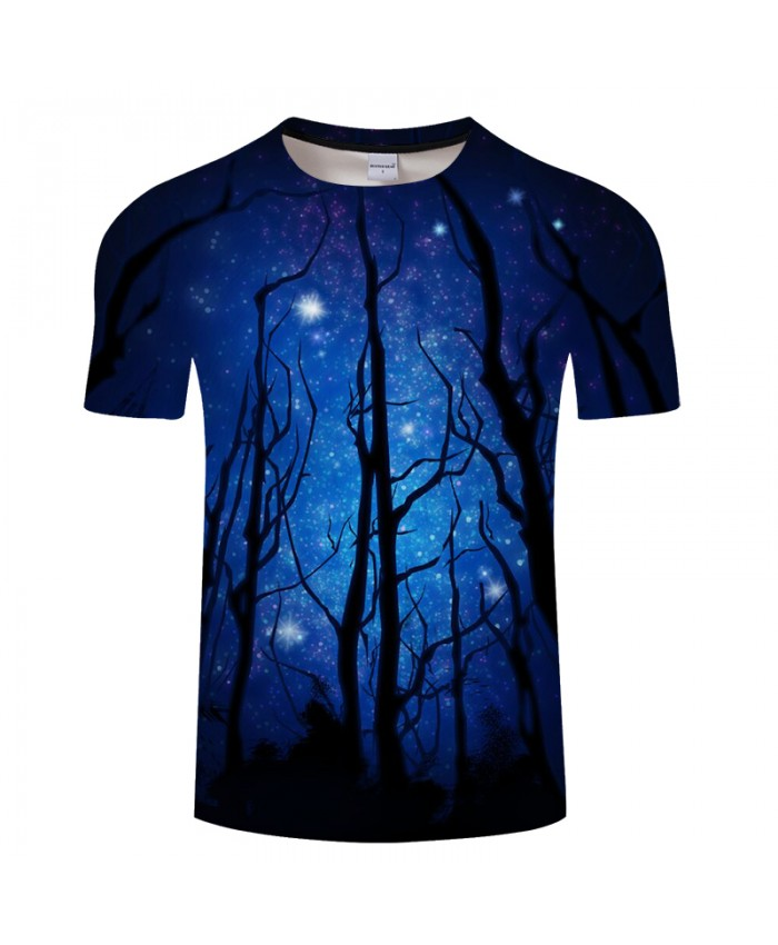 Night Forests with Moon Prints T-shirt Men's tshirt 2018 Summer New Short Sleeve Tops Tees Plus Size Drop Ship