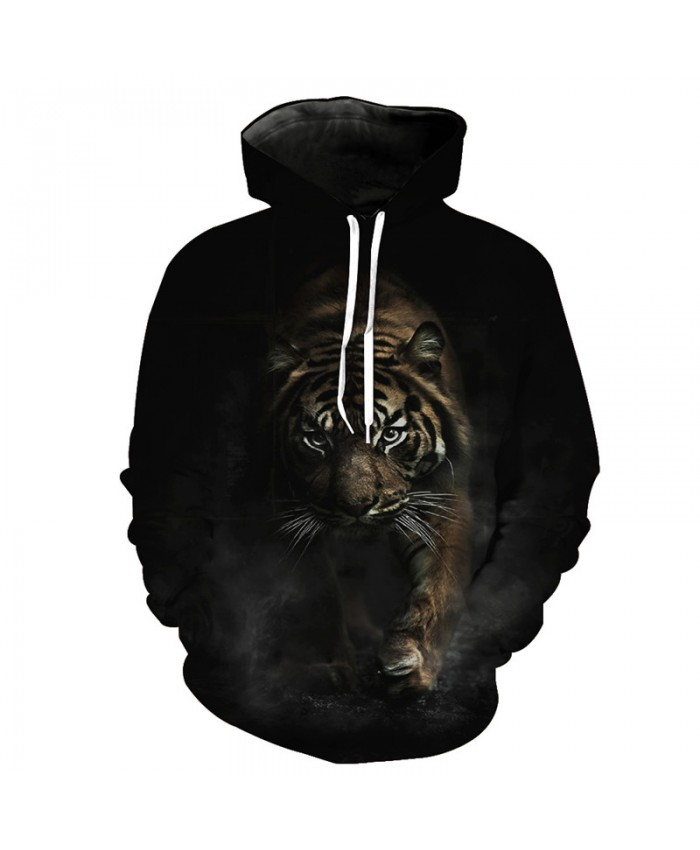 Night Predator Tiger Hoodies Autumn Cool Pullover Sweatshirt Casual Hoodie Autumn Tracksuit Pullover Hooded Sweatshirt