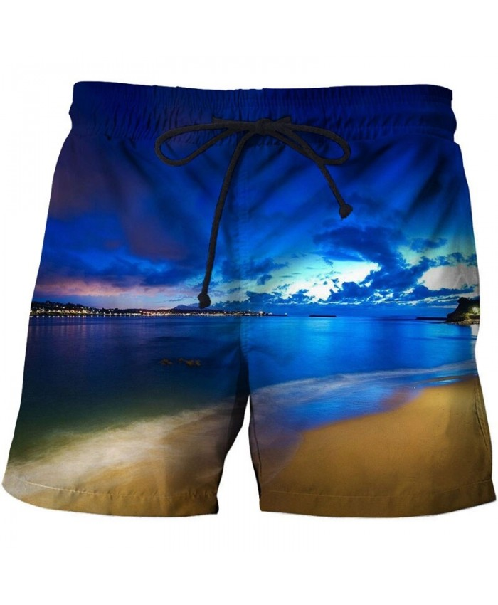 Night View Men Beach Shorts 3D Print Men Shorts Casual Cool Summer Men Elastic Waist Male Fitness Shorts Drop Ship