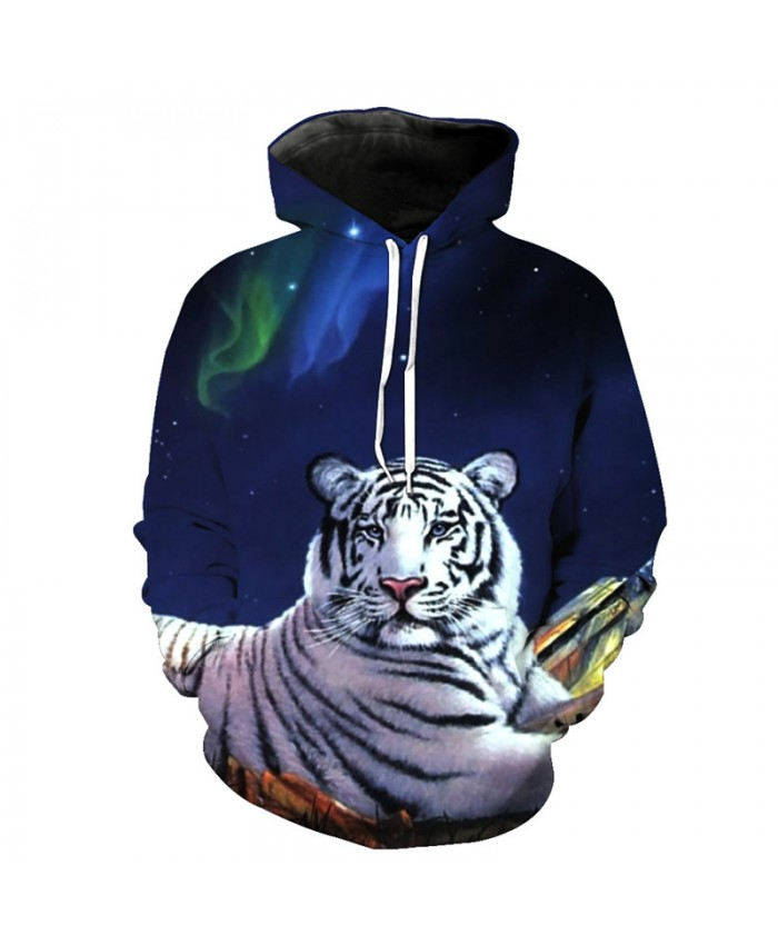 Night White Tiger Casual Hooded Pullover Casual Hoodie Autumn Tracksuit Pullover Hooded Sweatshirt
