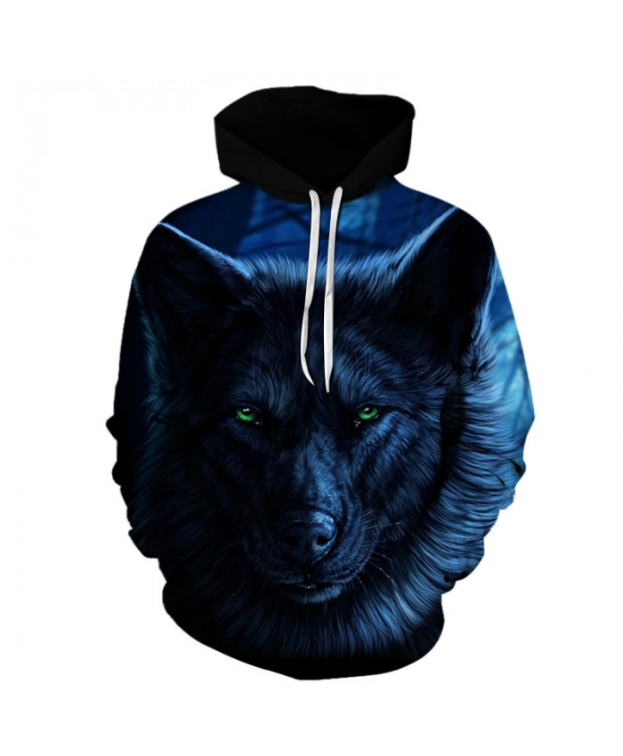 Night Wolf 3D Sweatshirts Men/Women Hoodies With Hat Print Fashion Autumn Winter Loose Thin Hooded Hoody Tops