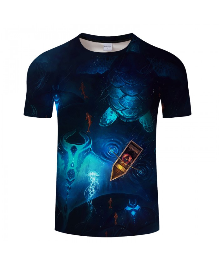 Night boating Tortoise By JojoesArt 3D Print t shirt Men Women tshirt Anime Short Sleeve O-neck Tops&Tee Camisetas New Drop Ship