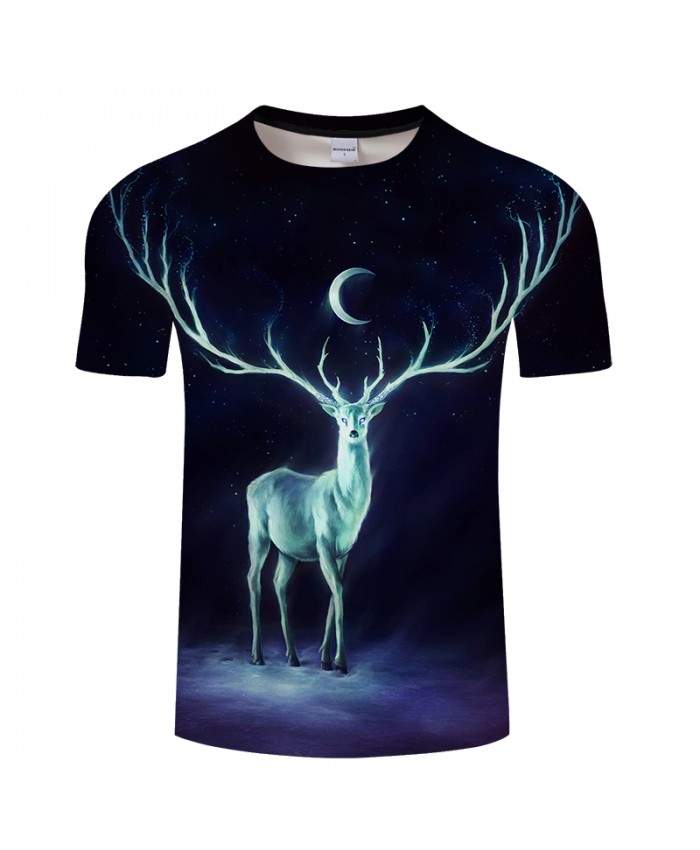 Nightbringer By JojoesArt Elk 3D Print t shirt Men Women tshirt Casual Short Sleeve O-neck Top&Tee Camisetas Moon 2018 Drop Ship