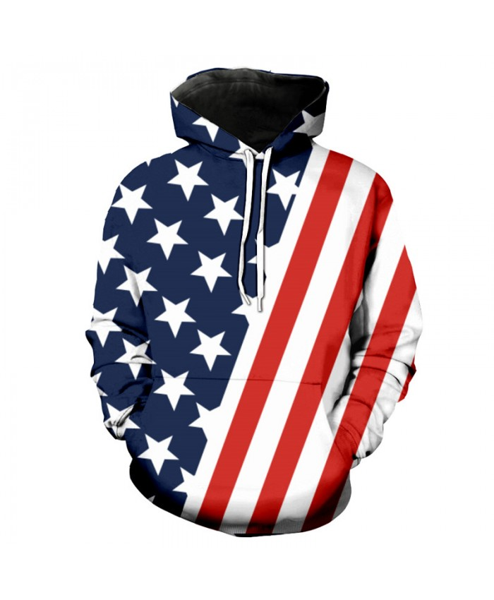 Oblique American Flag Printing Fashion Neutral Hooded Sweatshirt