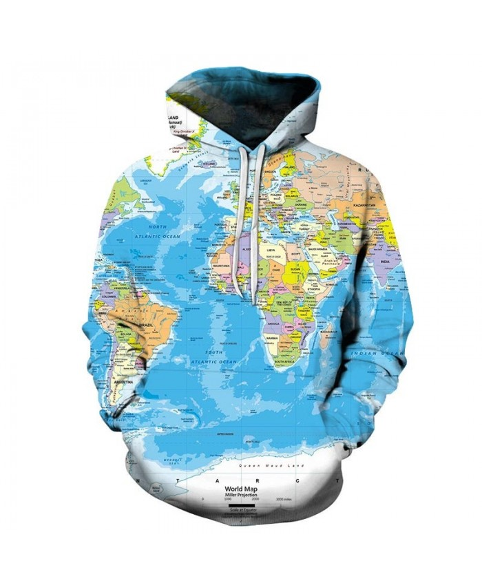 Ocean Map 3D Printed Men Pullover Sweatshirt Pullover Hoodie Casual Streetwear Sweatshirt Fashion Tracksuit Men