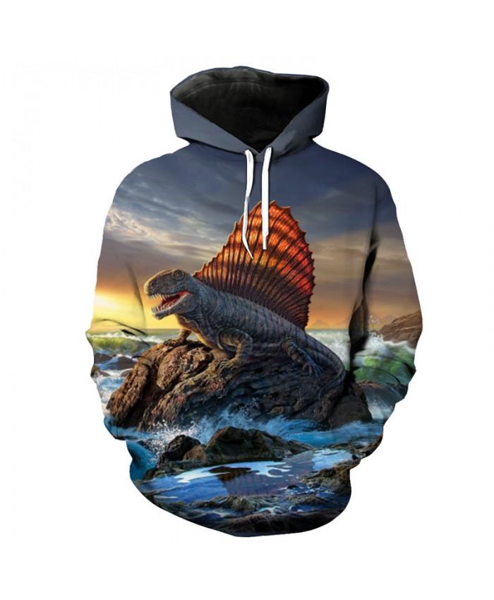 Ocean Reef Dinosaur Print Hooded Sweatshirt Casual Sportswear