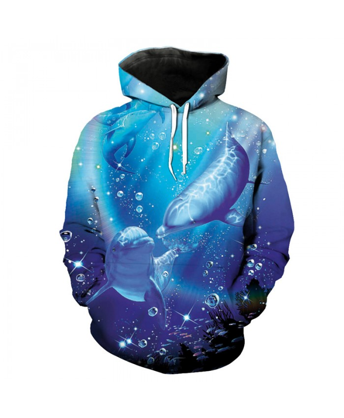 Ocean Two Playful Dolphin Print Fashion Hoodie Men Women Cool Sportswear Pullover Men Women Casual Pullover Sportswear