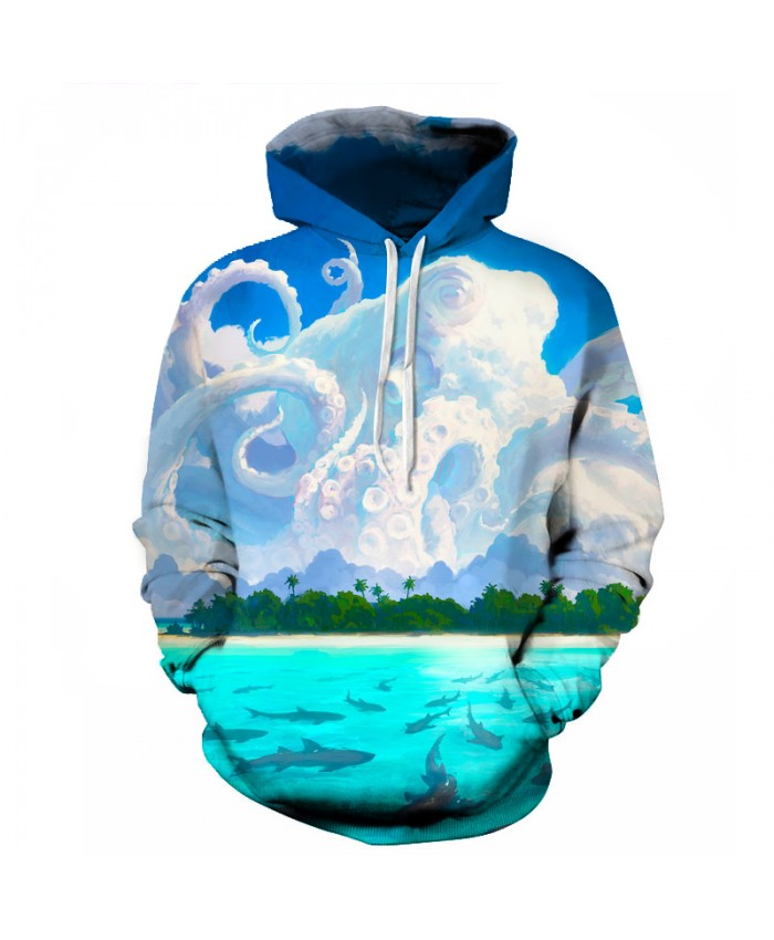 Octopus Harajuku Hoodies Men White Clouds Comics 3D Printed Fashion Soft Homme Hoodies Tracksuit Unisex Pullovers Men Sweatshirt