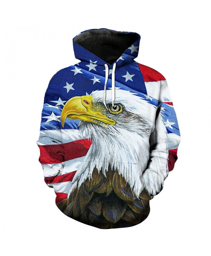 Oil Painting American Flag Bald Eagle Printed Hip Hop Men Hooded Pullover  Casual Hoodie Autumn Tracksuit Pullover Hooded Sweatshirt