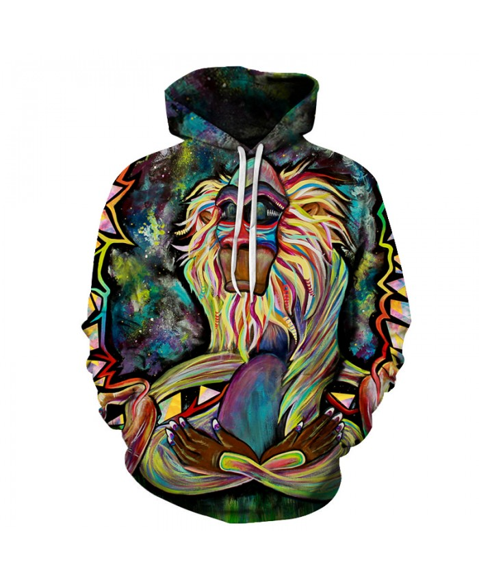 Oil Painting Monkey 3D Sweatshirts Men-Women Hoodies With Hat Print Animal Autumn Winter Loose Thin Hooded Hoody Tops