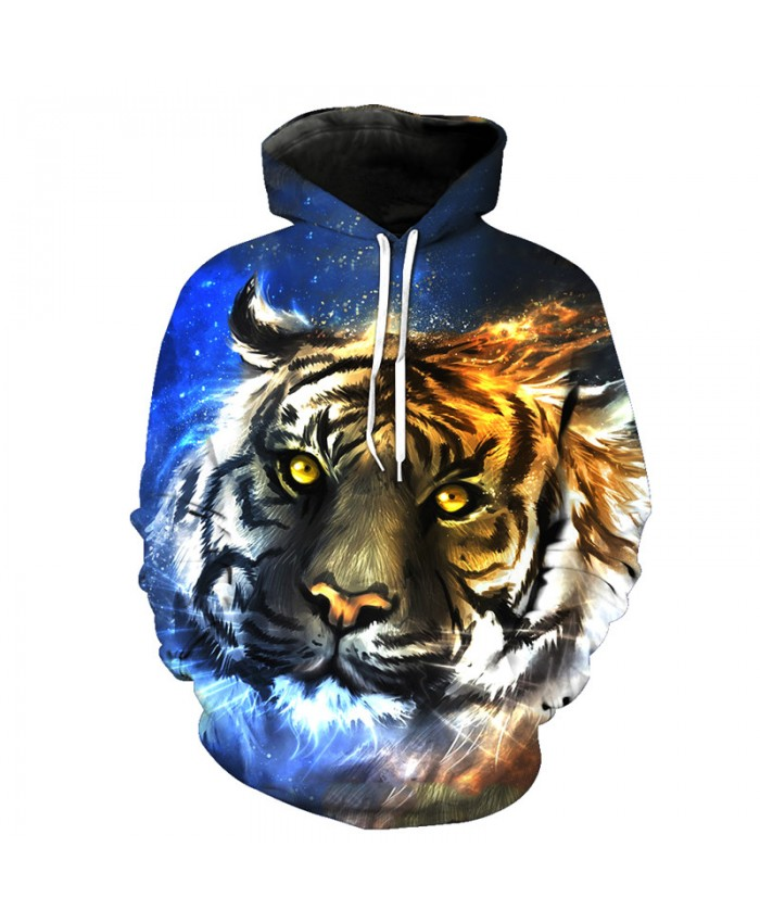 Oil painting Tiger Fashion Pullover Autumn Hooded Sweatshirt Casual Hoodie Autumn Tracksuit Pullover Hooded Sweatshirt
