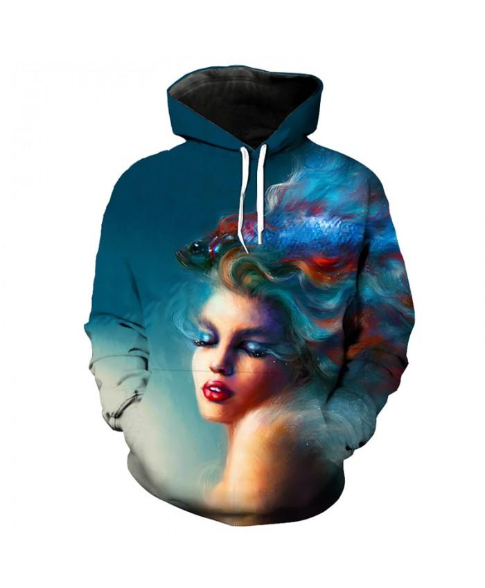 Oil painting beauty fish print fun 3d hooded sportswear fashion sweatshirt pullover Men Women Casual Pullover Sportswear