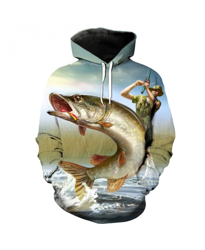 Oil painting catch fish fun print 3D hooded sweatshirt pullover Men Women Casual Pullover Sportswear