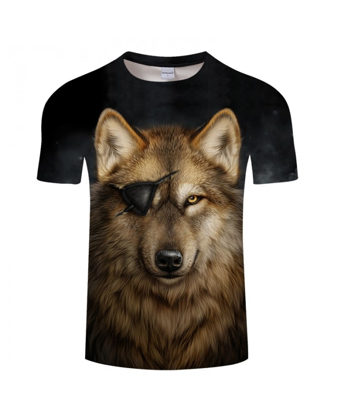 One Eyed Wolf 3D Print t shirt Men Women tshirt Summer Funny Short Sleeve O-neck Tops&Tee Streetwear Black Drop Ship