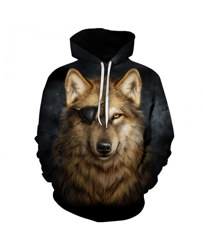 One Eyed Wolf Hoodies 3D Men Sweatshirts Cool Pullover Fashion Tracksuits Autumn Winter Male Outwear Boy Jackets Animal Hoodie