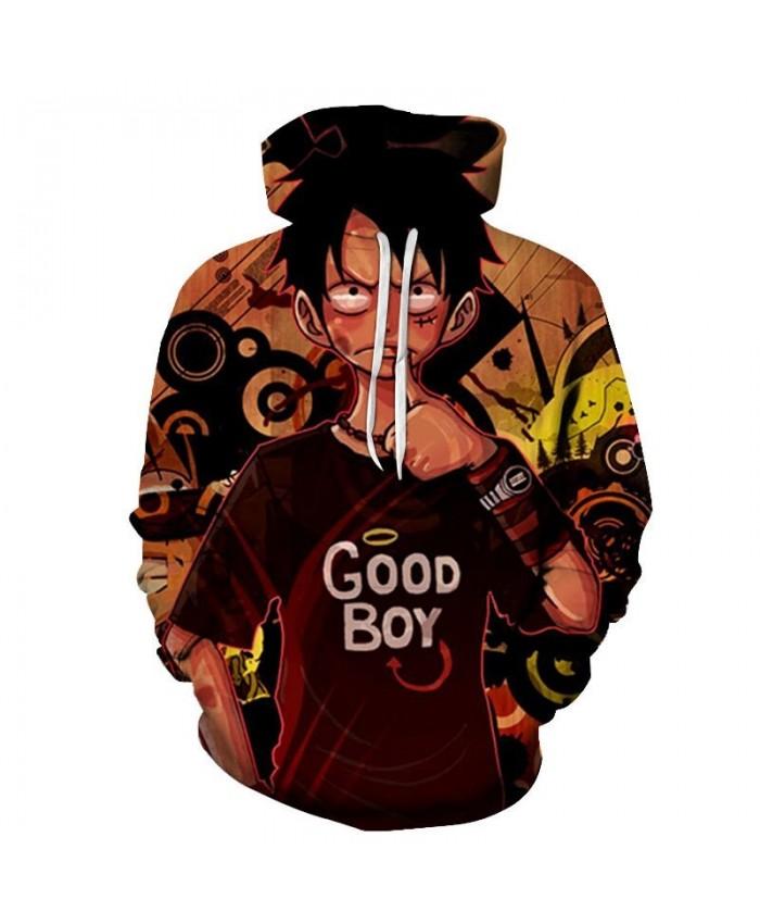 One Piece Good Boy 3D Printed Men Pullover Sweatshirt Clothing for Men Custom Pullover Hoodie Streetwear Sweatshirt