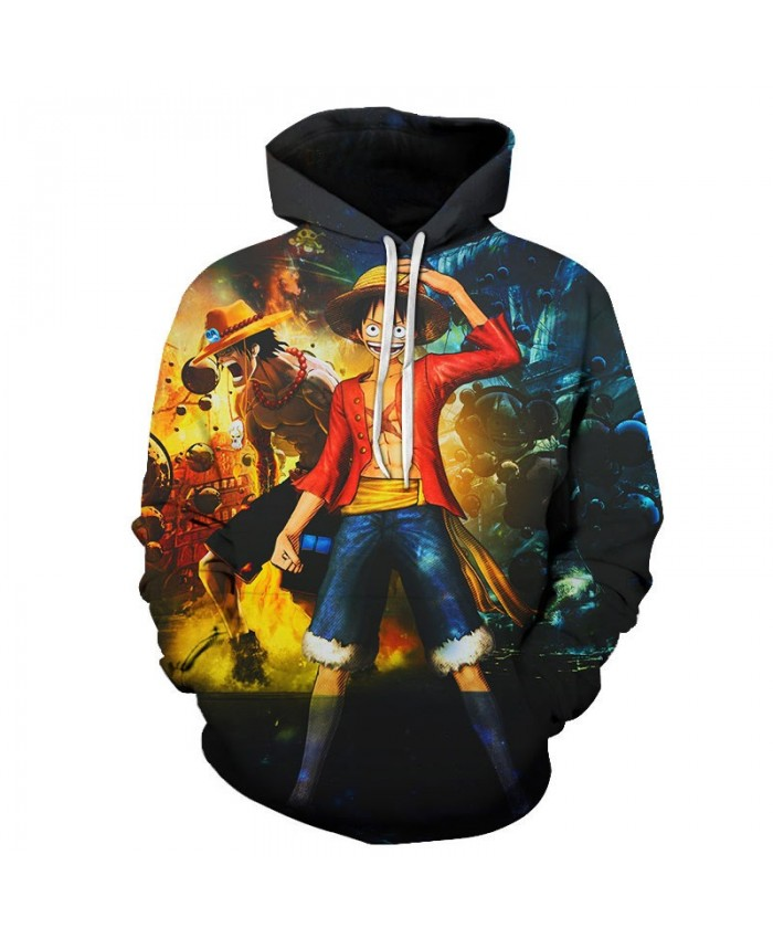 One Piece Standing In The Water 3D Print Men Pullover Sweatshirt Clothing for Men Custom Pullover Hoodie Streetwear