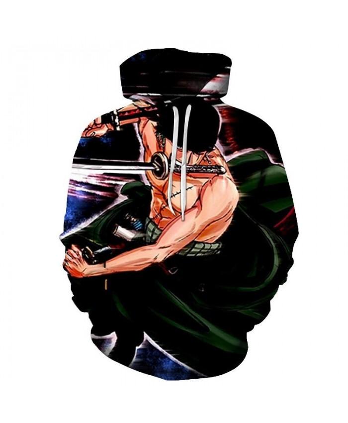 One Piece Sword On The Shoulder 3D Print Men Pullover Sweatshirt Clothing for Men Custom Pullover Hoodie Streetwear