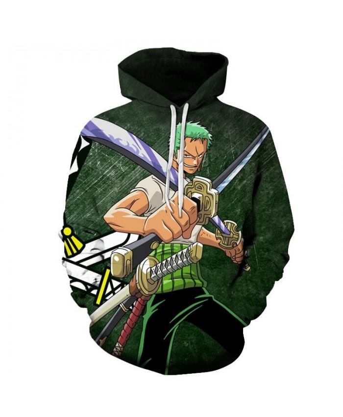 One Piece Two Swords Intersect 3D Printed Men Pullover Sweatshirt Clothing for Men Custom Pullover Hoodie Streetwear