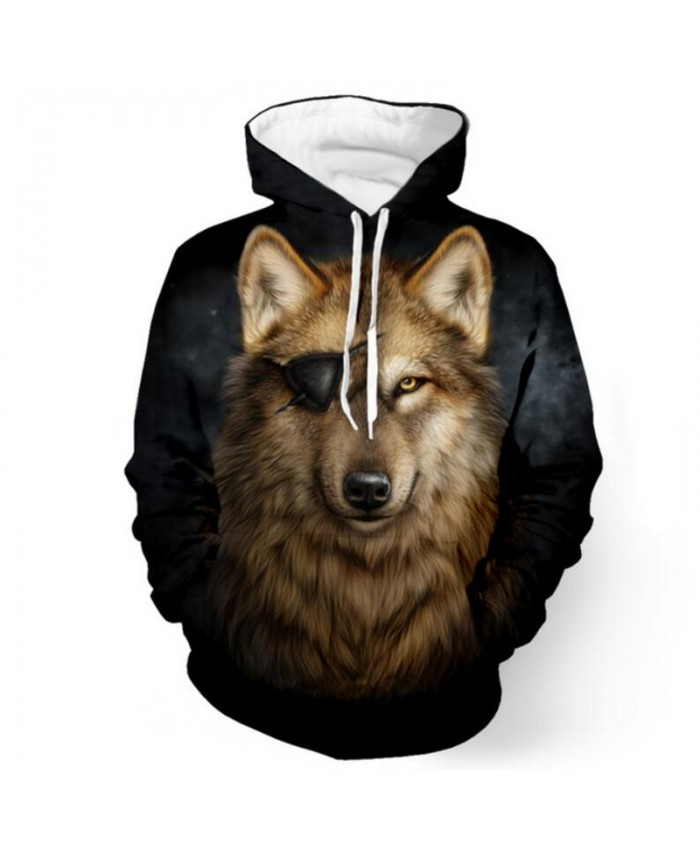 One-eyed Wolf Print Fashion Hooded Sweatshirt Men Women Casual Pullover Sportswear