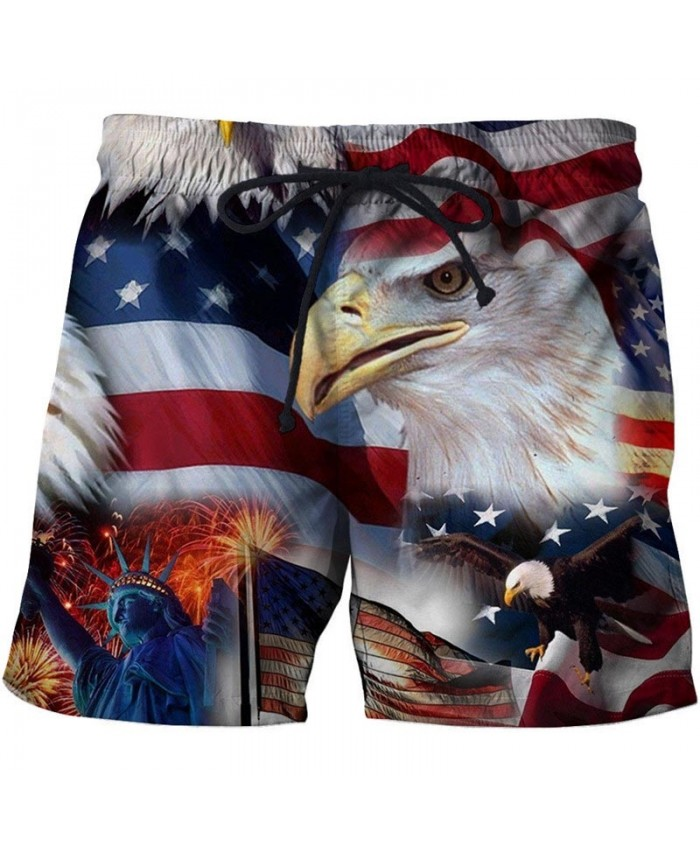 Owl Men 3D Printed Beach Shorts Summer Male Quick Dry Breathable Watersport Casual Summer USA Flag Board Shorts