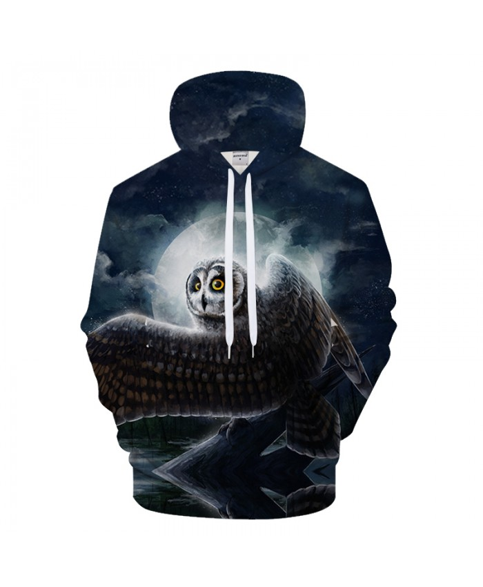 Owl & Moon 3D Printed Hoodie Sweatshit Fashion Hoodies Men 2018 Autumn Winter Cloth Tracksuit Pullover Drop Ship