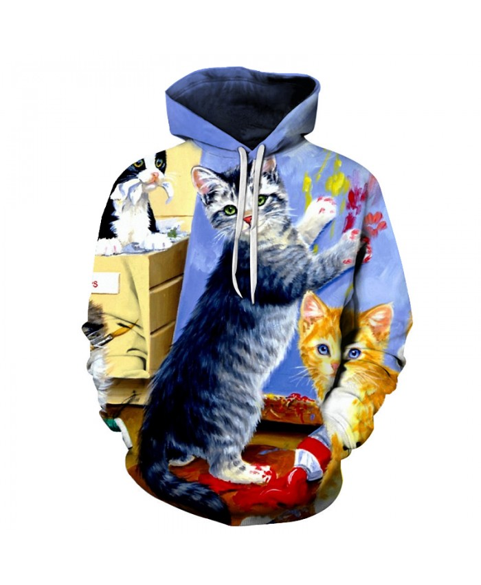 Paint Cat Hoodie Pullover 3D Hoodies Men Women Brand Sweatshirts Unisex Printed Tracksuits Male Coats Hooded Boy Jackets