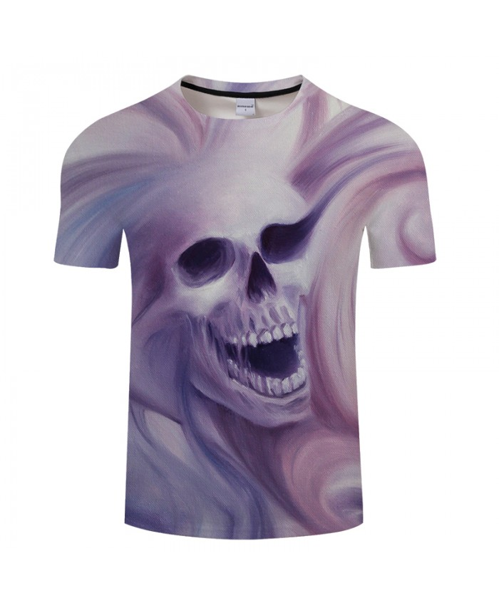 Paint Skull 3D Print t shirt Men Women tshirt Summer Funny Short Sleeve O-neck Tops&Tees Camisetas Loose Drop Ship