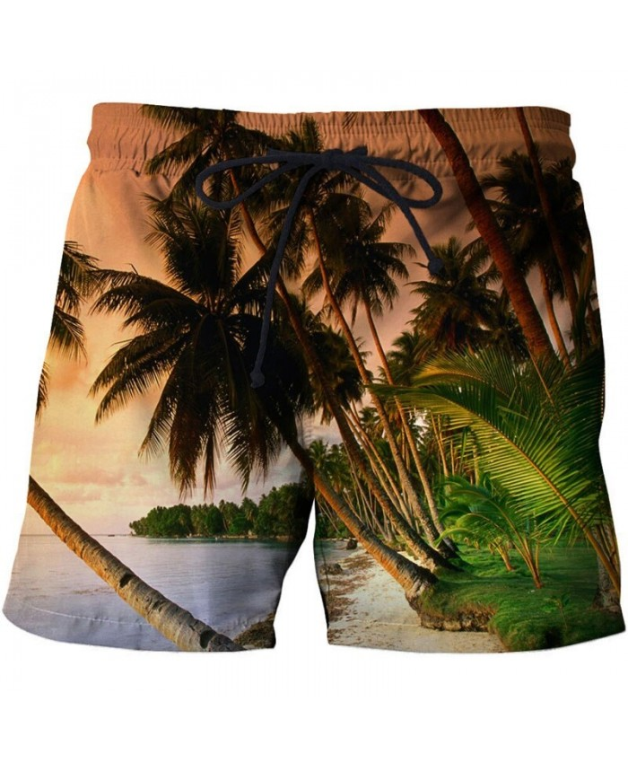 Palm Tree Men Beach Shorts 3D Print Men Shorts Casual Cool Summer Men Elastic Waist Male Fitness Shorts Drop Ship