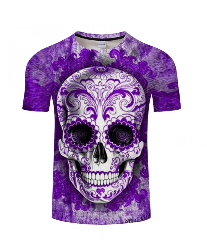 Pattern Skull 3D Print t shirt Men tshirts Summer Casual Short Sleeve O-neck Tops&Tees Streetwear Purple Drop Ship